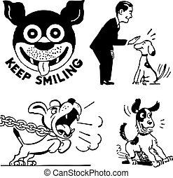 cão, vetorial, retro, gráficos