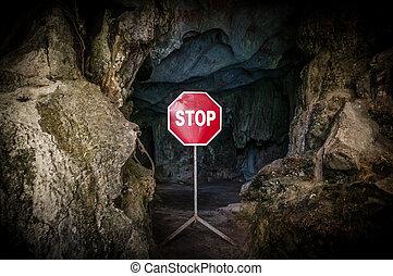 cégtábla., barlang, abbahagy, sötét, bejárat, elzárt