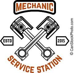 cégtábla., címke, embléma, garage., embléma, repair., autó, jel, szolgáltatás, keresztbe tett, tervezés, pistons., elem, station.