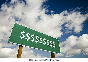 cégtábla, dollár, út cégtábla