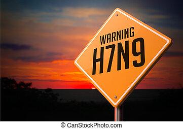 cégtábla., figyelmeztetés, h7n9, út