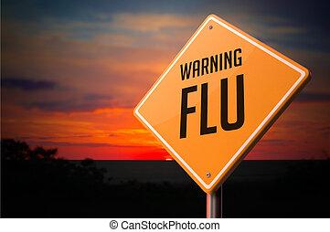 cégtábla., figyelmeztetés, influenza, út