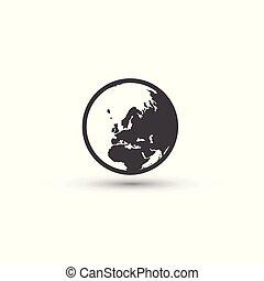 cégtábla., jelkép., bolygó földdel feltölt, világ, icon.