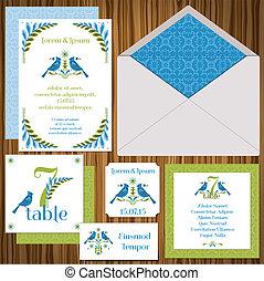 cégtábla, név, meghívás, meghívás, vendég, kártya, esküvő, állhatatos, -vintage, asztal, kártya, birds-, kártya