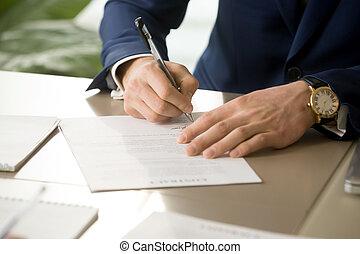 cégtábla szerződő, kéz, feltétel, aláírás, becsuk, hím, dokumentum