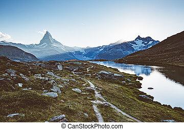 célèbre, alps., scénique, environs, endroit, emplacement, suisse, pic, matterhorn.