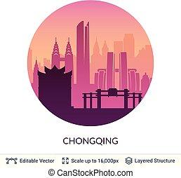 célèbre, chongqing, porcelaine, scape., ville