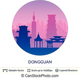 célèbre, dongguan, porcelaine, scape., ville