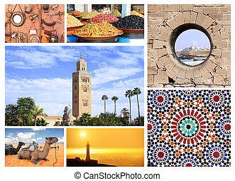 célèbre, endroits, maroc