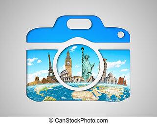 célèbre, icône, appareil photo, mondiale, monuments