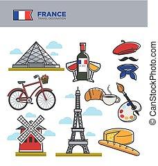 célèbre, icônes, voyage, france française, symboles, culture, vecteur, tourisme, repères