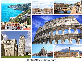 célèbre, italie, endroits