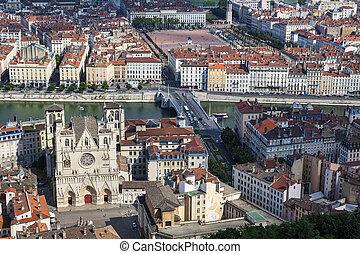 célèbre, lyon, vue, cathédrale