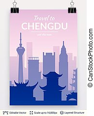 célèbre, porcelaine, chengdu, scape., ville