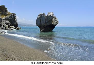 célèbre, preveli, rocher plage