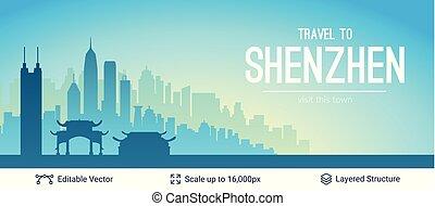 célèbre, shenzhen, porcelaine, scape., ville