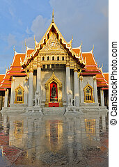 célèbre, thaï, temple marbre