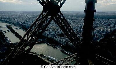célèbre, tour, paris, encadrement, poutres, eiffel, métal, constructions