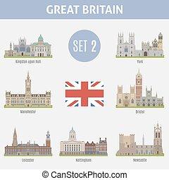 célèbre, villes, royaume-uni, endroits