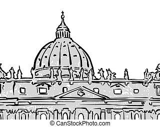 célèbre, voyage, croquis, vatican