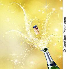 célébration, champagne., concept