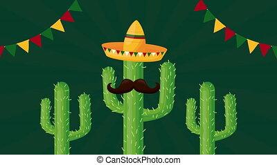 célébration, chapeau, cactus, mexicain