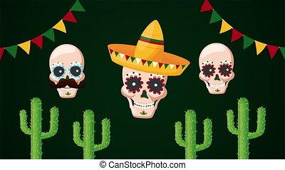 célébration, crânes, mexicain, cactus