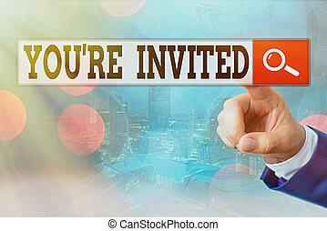 célébration, joindre, accueil, s'il vous plaît, showcasing, note, nous, être, re, guest., business, écriture, photo, projection, vous, notre, invited.
