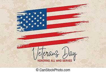 célébration, jour vétérans, tapé machine, affiche, texte, drapeau usa