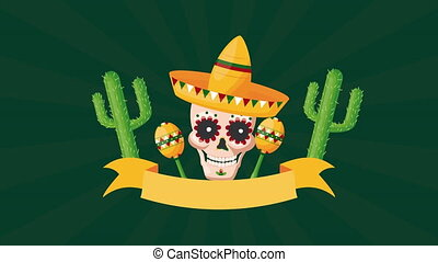 célébration, mexicain, crâne, maracas