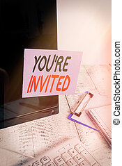 célébration, noir, stationary., concept, mot, vous, notre, joindre, être, papier, texte, s'il vous plaît, informatique, invited., re, clavier, écriture, accueil, enregistré, note, écran, business, nous, invité