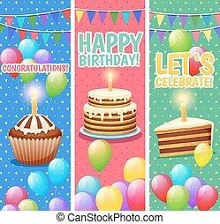 célébrations, coloré, vertical, fête, ensemble, bannières
