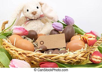 célébrations, paques, chocolat, tour, oeuf, lapin