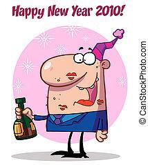 célébrer, année, heureux, homme, nouveau