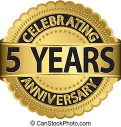 célébrer, années, 5, anniversaire, gol