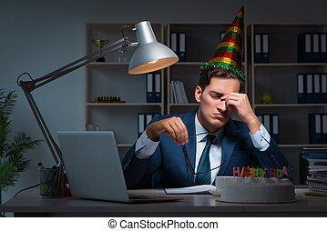 célébrer, anniversaire, bureau, homme