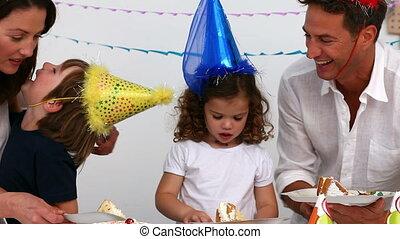 célébrer, anniversaire, famille