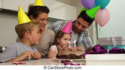 célébrer, anniversaire, famille, toget