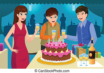 célébrer, anniversaire, jeune, fête, gens
