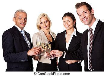 célébrer, business, reussite, équipe