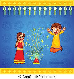 célébrer, diwali, apprécier, pétard, gosses