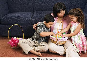 célébrer, famille, easter.