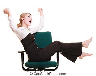 célébrer, femme affaires, success., promotion.