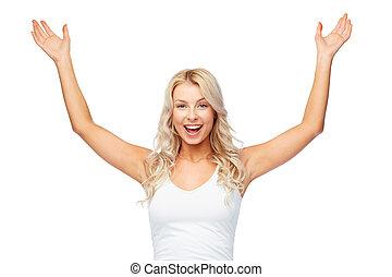 célébrer, femme heureuse, victoire, jeune