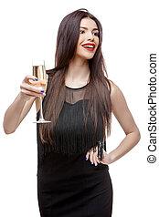 célébrer, femme, robe, jeune, noir