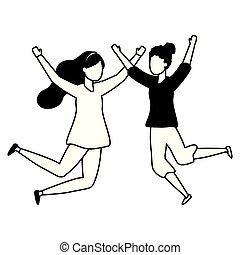 célébrer, femmes, sauter, caractères, heureux