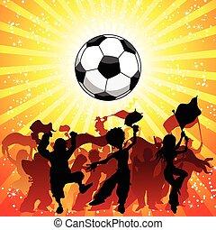 célébrer, game., foule, football, énorme