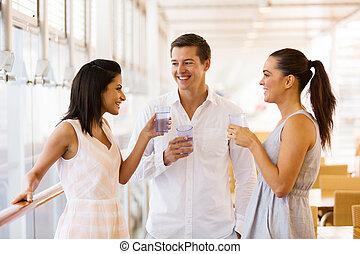 célébrer, gens, groupe, restaurant