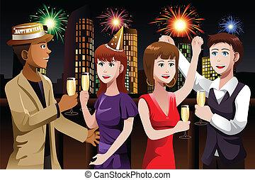 célébrer, gens, jeune, nouvel an