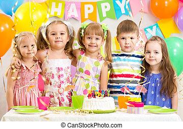 célébrer, gosses, vacances, anniversaire